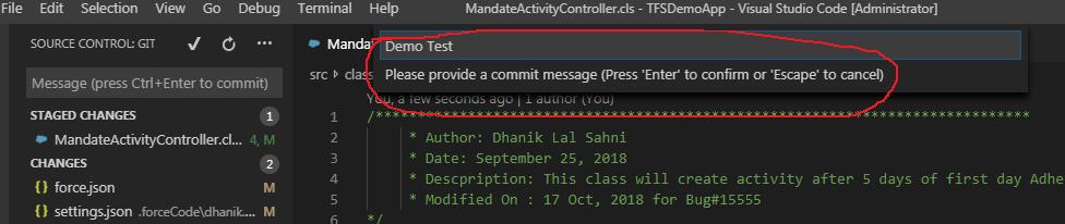 Visual Studio Code and Code Versioning in TFS - SalesforceCodex